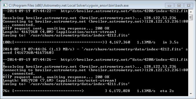 ansvr - Astrometry net Local Plate solver for Windows